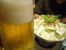 もつ鍋とビール