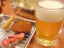 ビールと串かつ