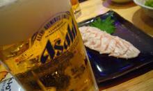 ビールとササミタタキ