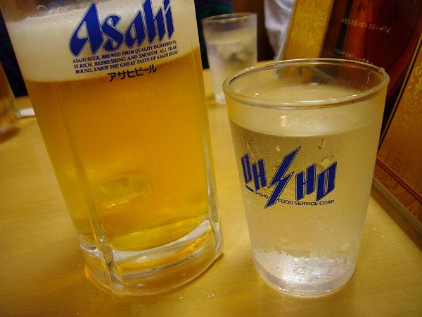 ビールと水