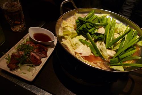 生ビールブログ -とりあえず生!--モツ鍋と大山地鶏の網焼き