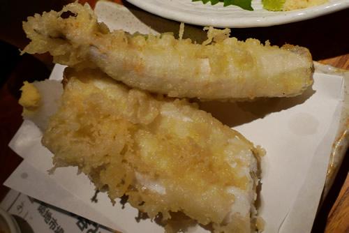 生ビールブログ -とりあえず生!--あなごとホタテの天ぷら