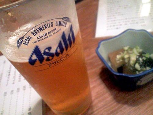 生ビールブログ -とりあえず生!--渋谷 とんがらし スーパードライ&お通し