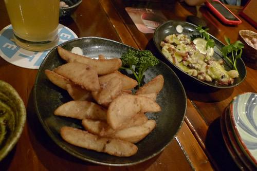 生ビールブログ -とりあえず生!--アンチョビポテトとタコのマリネ