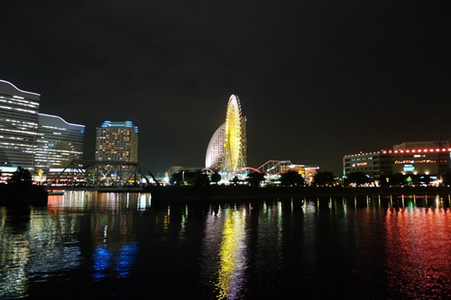 横浜みなとビアガーデンからの夜景