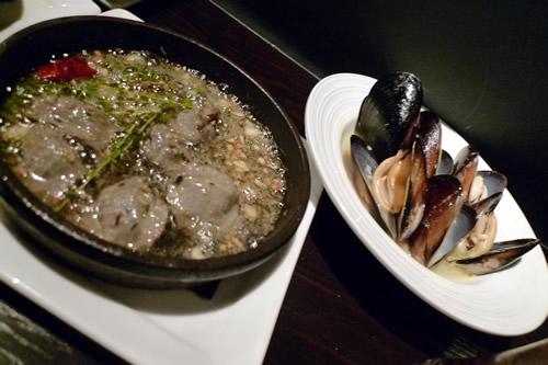 砂肝のオイル煮とムール貝