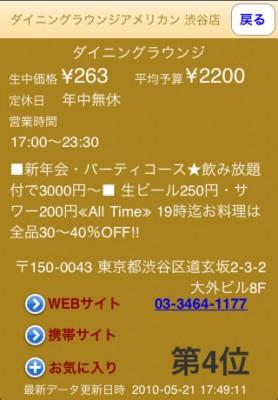 iPhoneアプリ 調安 お店詳細