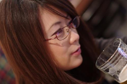 メガネ美人×麦酒