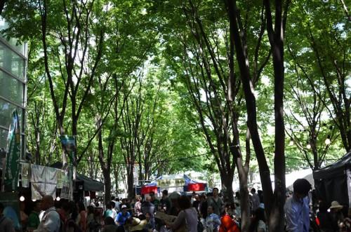 木陰で楽しむビール祭り