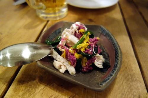 鶏と春菊とほうれん草のサラダ