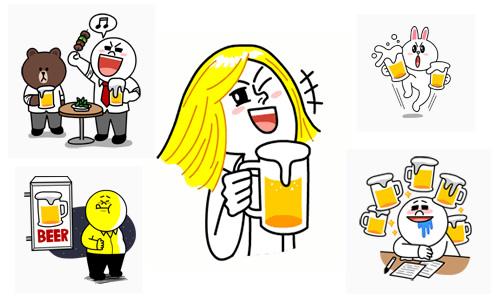 LINEのキャラによるビール系スタンプ