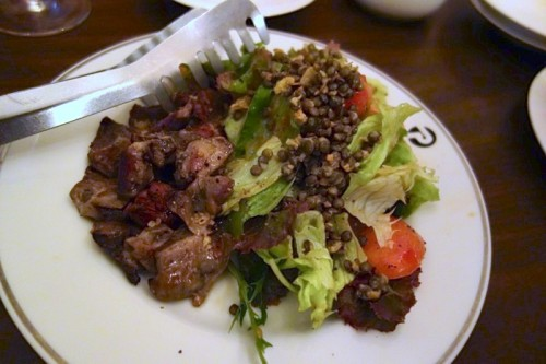 砂肝のコンフィとレンズ豆のサラダ