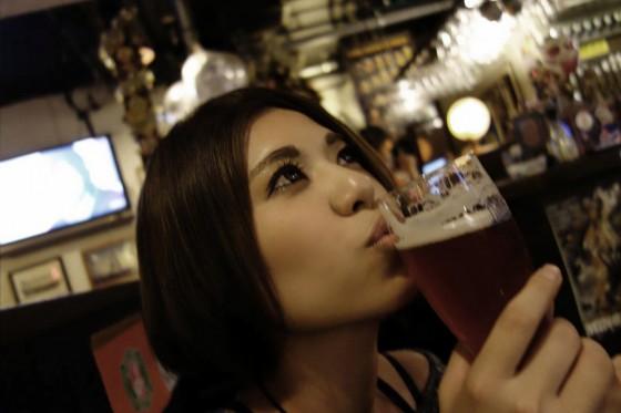 ビールにキッス
