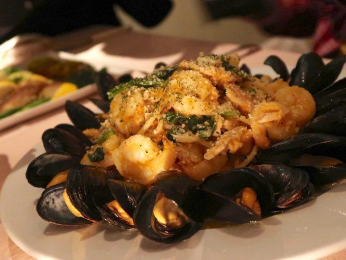 ムール貝と海老のパスタ