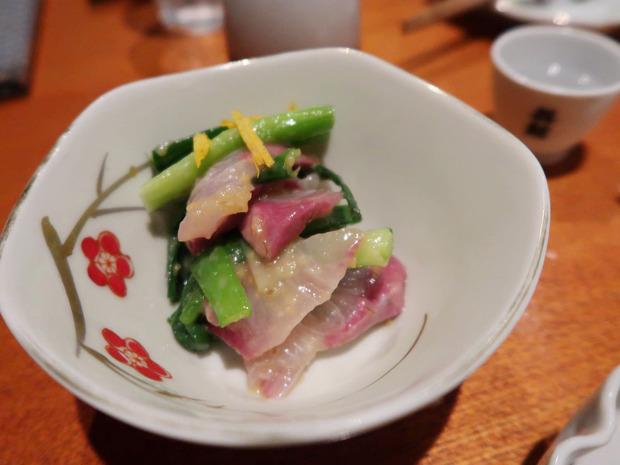 九条ねぎとカンパチ酢みそ和え(580円)