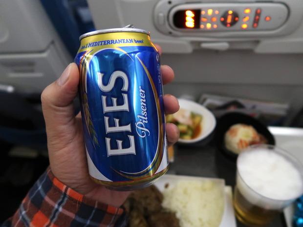 機内食でEFES Pilsen